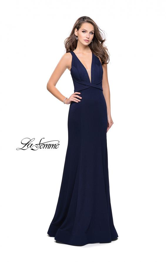 Picture of: Form Fitting Mermaid Prom Dress with Low V Open Back in Navy, Style: 25503, Detail Picture 2