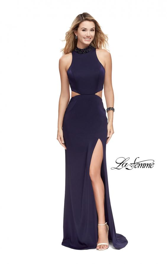 Picture of: Long Jersey Prom Dress with Side Cut Outs and Beading, Style: 25641, Detail Picture 2