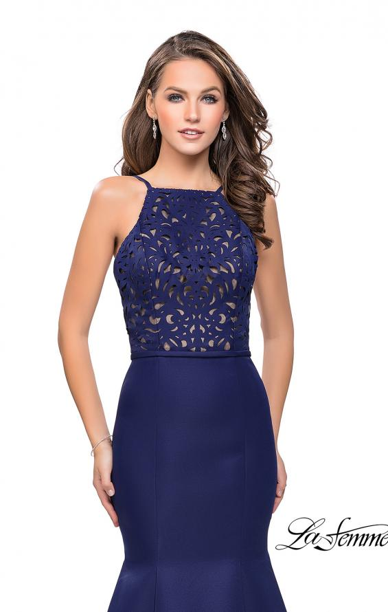 Picture of: Long Mermaid Prom Dress with Laser Cut Pattern Detail in Navy, Style: 25650, Detail Picture 2