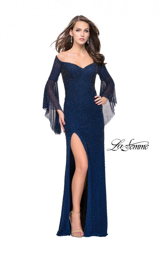 Picture of: Beaded Prom Dress with 3/4 Bell Sleeves and Leg Slit, Style: 25717, Detail Picture 2