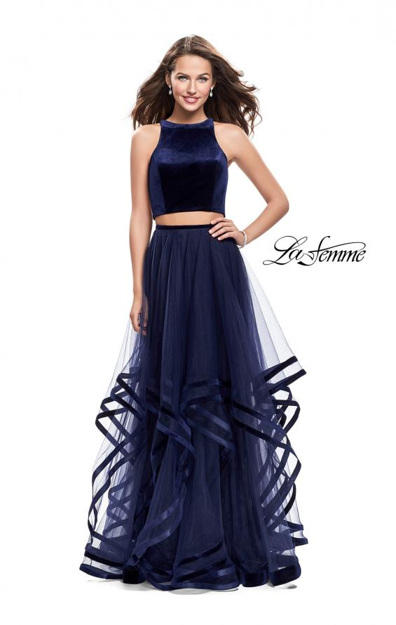 Picture of: Two Piece Tulle Gown with Velvet High Neck Top in Navy, Style: 25817, Detail Picture 2