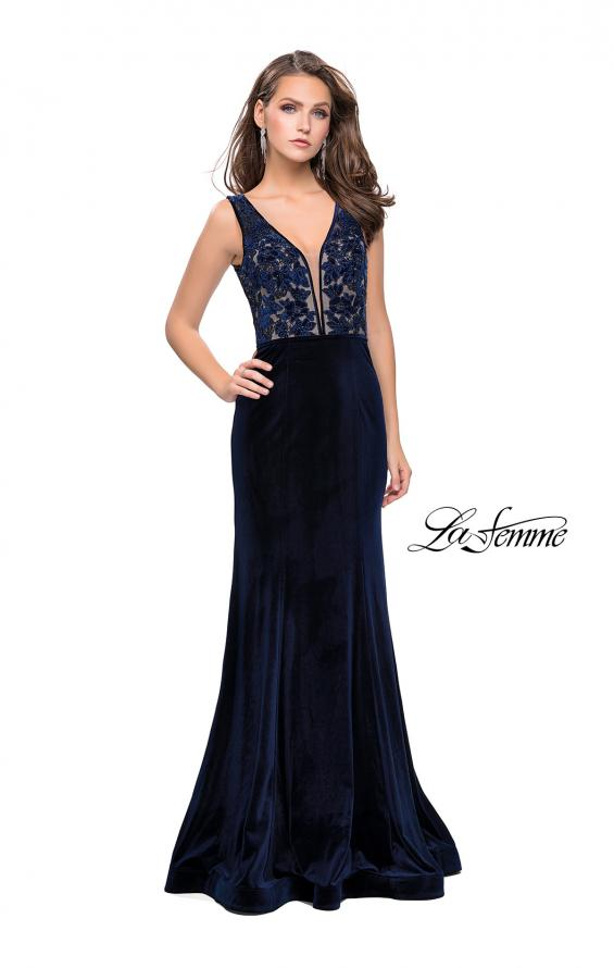 Picture of: Long Embellished Velvet Prom Dress with a Low V Back, Style: 25824, Detail Picture 2
