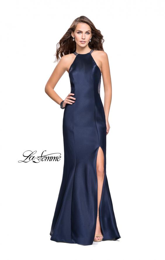 Picture of: Mikado Mermaid Dress with High Neck and Beading in Navy, Style: 26181, Detail Picture 2