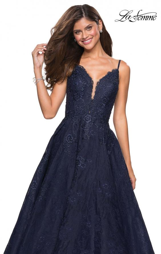 Picture of: Lace Detail Long A Line Prom Dress with Open Back in Navy, Style: 27030, Detail Picture 2