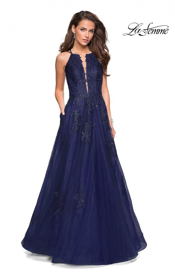 Picture of: Tulle Prom Dress with Lace Bodice and Strappy Back in Navy, Style: 27143, Detail Picture 2