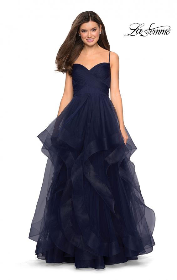 Picture of: Cascading Tulle Formal Gown with Sweetheart Neckline in Navy, Style: 27223, Detail Picture 2