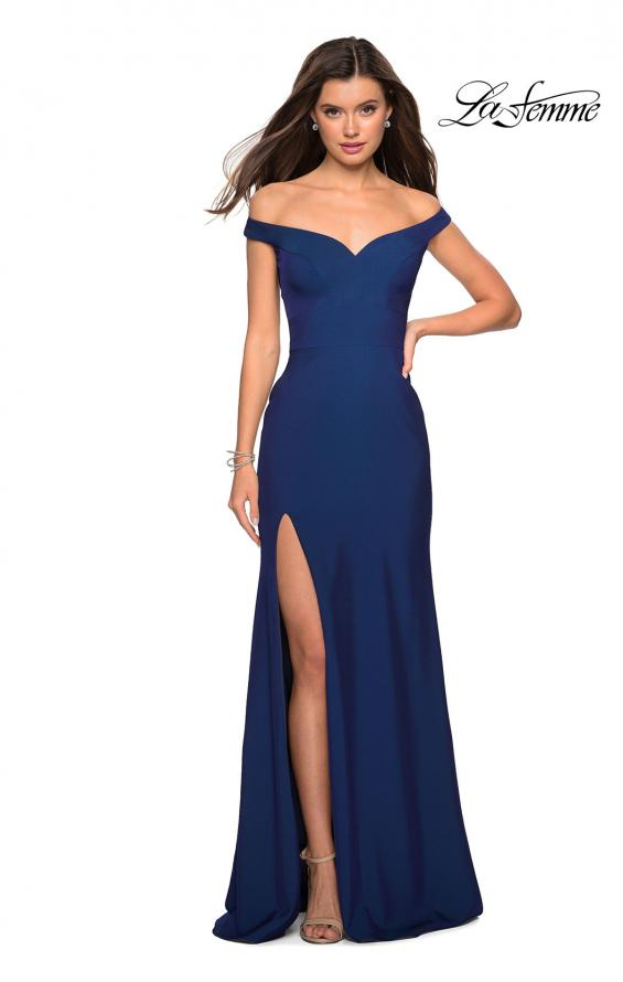 Picture of: Elegant Off the Shoulder Dress with Side Leg Slit in Navy, Style: 27587, Detail Picture 2