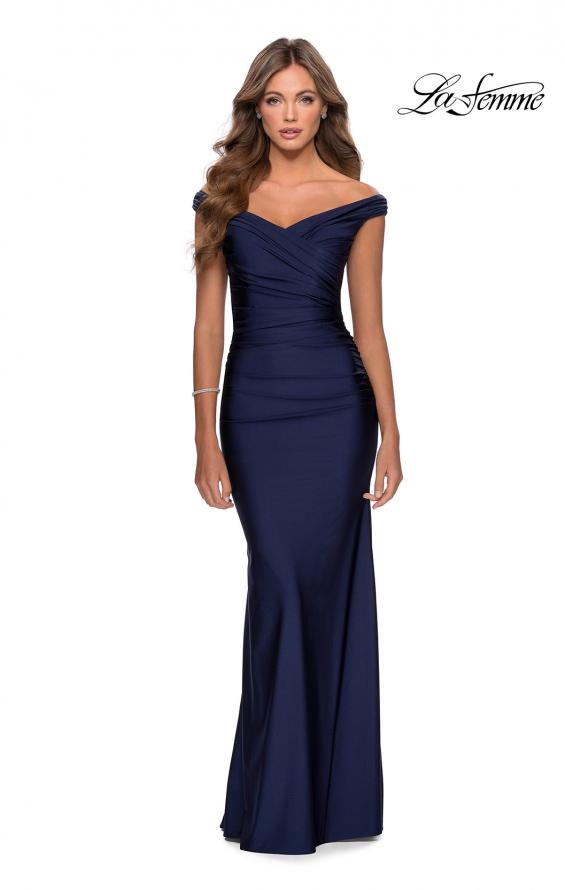 Picture of: Off the Shoulder Prom Dress with Sweetheart Neckline in Navy, Style: 28450, Detail Picture 2