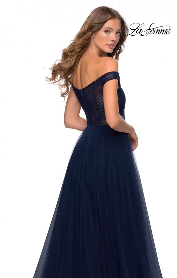 Picture of: Off The Shoulder Tulle Prom Dress with Sheer Bodice in Navy, Style: 28462, Detail Picture 2