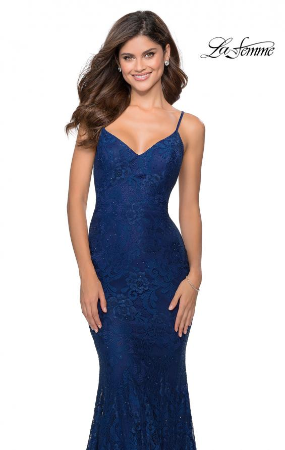 Picture of: Long Mermaid Lace Prom Dress with V Shaped Neckline in Navy, Style: 28504, Detail Picture 2