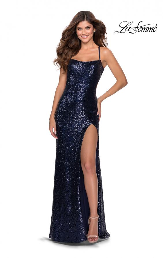 Picture of: Sequin Prom Dress with Criss Cross Open Back in Navy, Style: 28514, Detail Picture 2