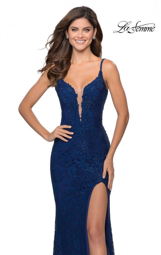 Picture of: Lace Prom Dress with Deep V-Neck and Rhinestones in Navy, Style: 28556, Detail Picture 2