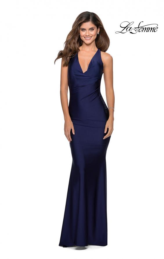 Picture of: Jersey Prom Dress with Deep Dramatic Neckline in Navy, Style: 28579, Detail Picture 2