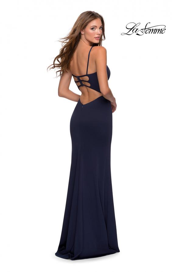 Picture of: Jersey Prom Gown with Lace Up Back and Slit in Navy, Style: 28653, Detail Picture 2