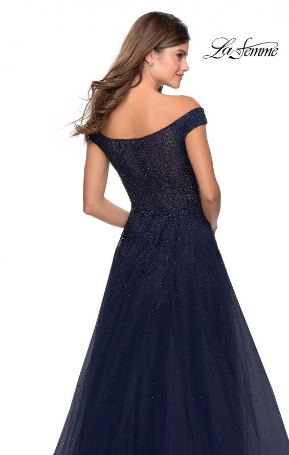 Picture of: Off The Shoulder Beaded Tulle Prom Dress in Navy, Style: 28774, Detail Picture 2
