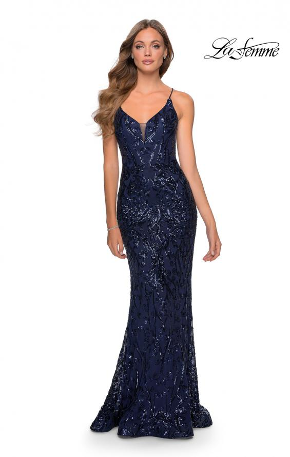 Picture of: Long Prom Dress with Intricate Sequin Lace Design in Navy, Style: 28828, Detail Picture 2