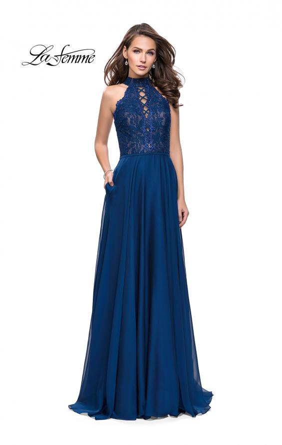 Picture of: Long A Line Chiffon Dress with Lace Up Neckline, Style: 25347, Detail Picture 3
