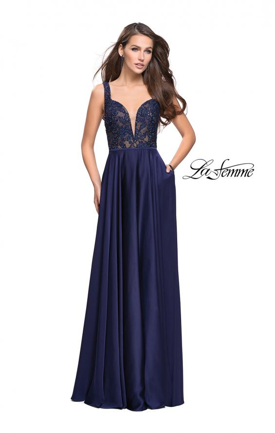 Picture of: Long A line Prom Dress with Lace Up Side Cut Outs in Navy, Style: 25436, Detail Picture 3