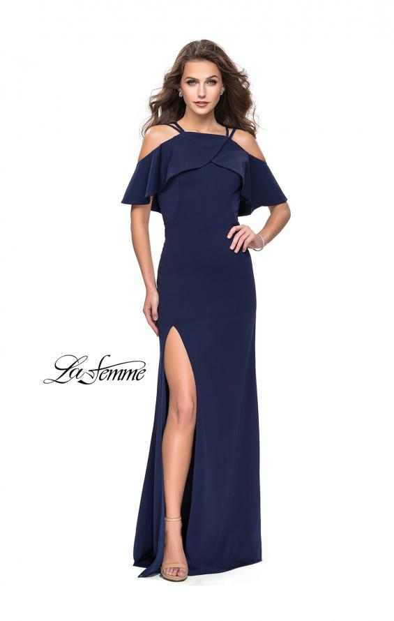 Picture of: Long Jersey Prom Dress with Off the Shoulder Ruffle Detail, Style: 25556, Detail Picture 3