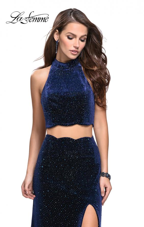 Picture of: Two Piece Velvet Prom Dress with Scallop Detail and Slit, Style: 25667, Detail Picture 3