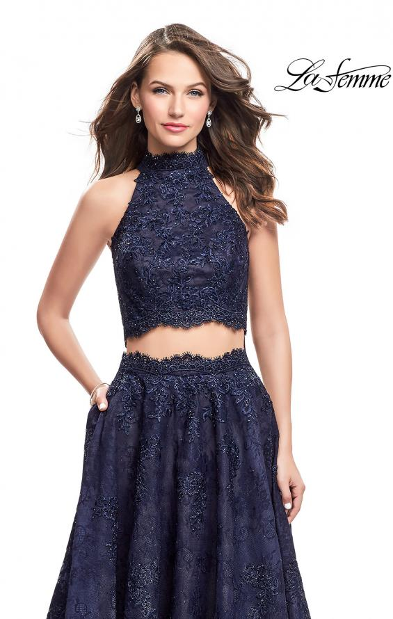 Picture of: Long Lace A-line Two Piece Prom Dress with Cut Outs in Navy, Style: 26103, Detail Picture 3