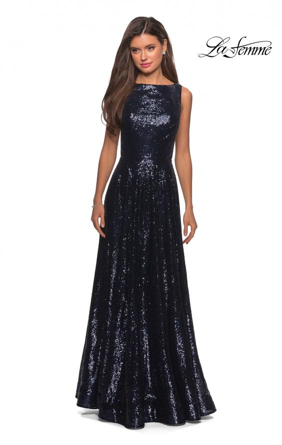 Picture of: Fully sequin A Line Gown with Illusion Sides, Style: 27061, Detail Picture 3