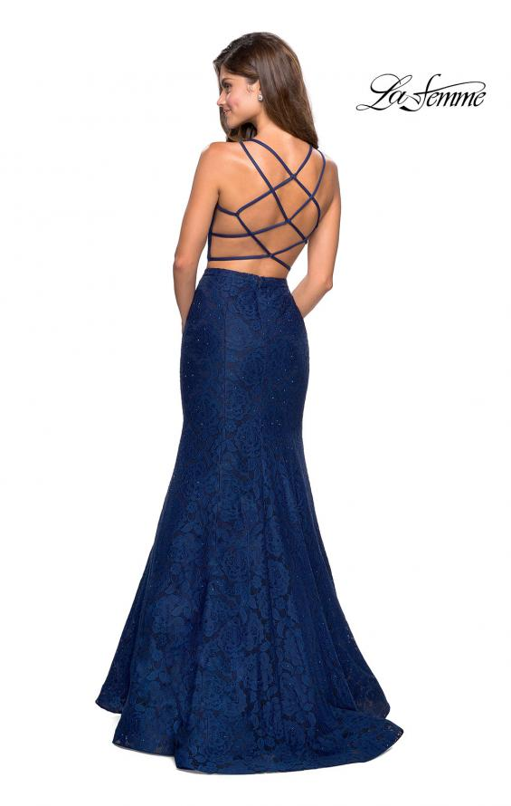 Picture of: Two Piece Stretch Lace Prom Dress with Strappy Back in Navy, Style: 27452, Detail Picture 3