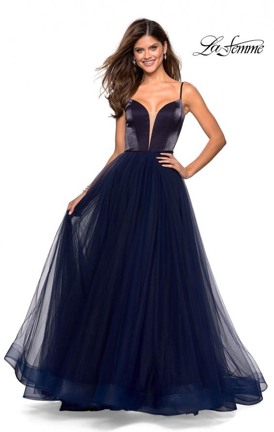 Picture of: Tulle evening Gown with Satin Bust and V Shaped Back in Navy, Style: 27485, Detail Picture 3