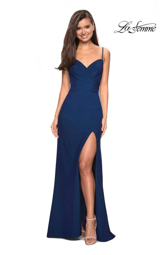 Picture of: Classic Long Jersey Gown with Side Ruching and Slit, Style: 27626, Detail Picture 3