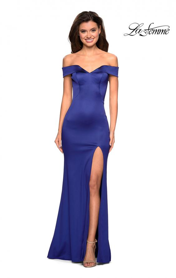 Picture of: Form Fitting Off the Shoulder Satin Prom Dress in Navy, Style: 27752, Detail Picture 3