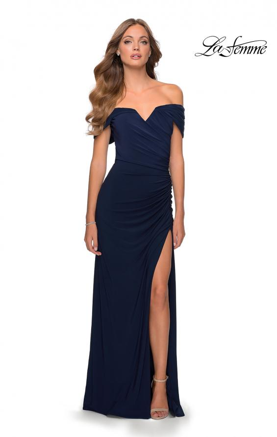 Picture of: Off the Shoulder Fully Ruched Floor Length Gown in Navy, Style: 28389, Detail Picture 3