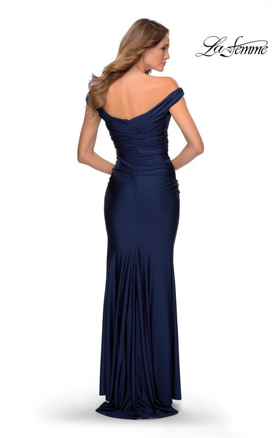 Picture of: Off the Shoulder Prom Dress with Sweetheart Neckline in Navy, Style: 28450, Detail Picture 3