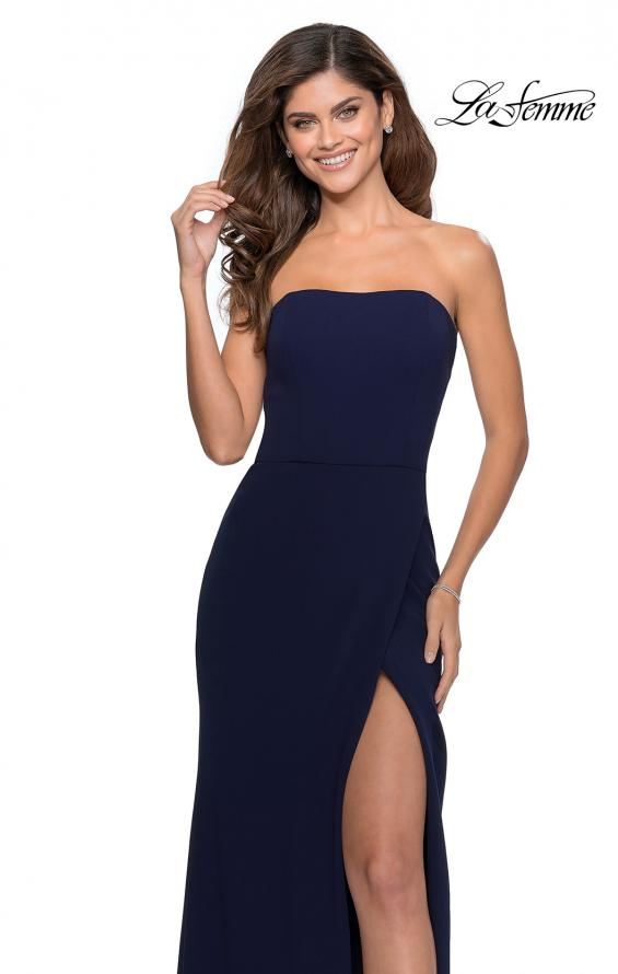 Picture of: Strapless Double Strap Long Jersey Prom Dress in Navy, Style: 28835