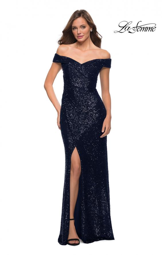 Picture of: Off the Shoulder Ruched Sequin Dress with Slit in Navy, Style 29831, Detail Picture 3