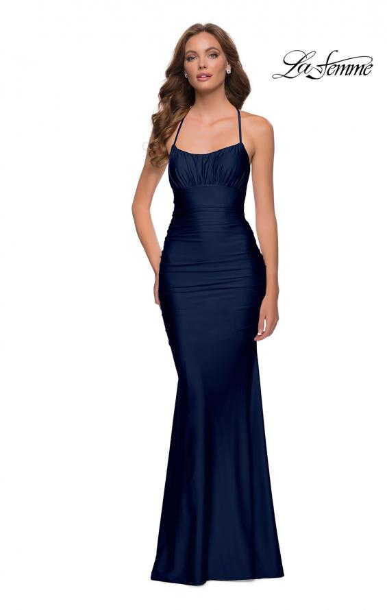 Picture of: On Trend Jersey Long Dress with Ruching on Bodice in Navy, Style 29873, Detail Picture 3
