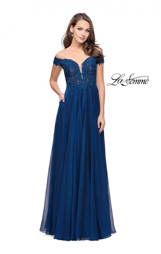 Picture of: Chiffon Prom Dress with Off the Shoulder Lace Top, Style: 25129, Detail Picture 4