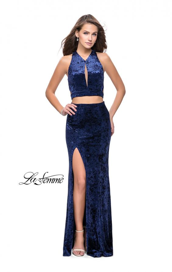 Picture of: Long Velvet Prom Dress with Crop Top and Leg Slit in Navy, Style: 25500, Detail Picture 2