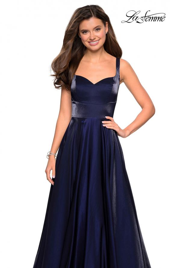 Picture of: Sweetheart Neckline Satin Long Prom Gown in Navy, Style: 27227, Detail Picture 4