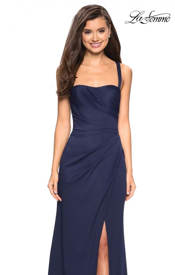 Picture of: Long Jersey Gown with Size Ruching and Slit in Navy, Style: 27470, Detail Picture 4