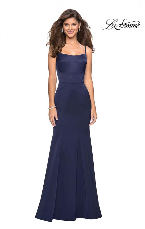 Picture of: Fitted Long Dress with Seams and Large Gold Zipper, Style: 27524, Detail Picture 4