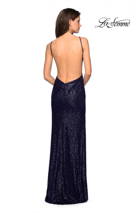 Picture of: Sparkling Fully sequin Prom Gown with Exposed Back in Navy, Style: 27585, Detail Picture 4