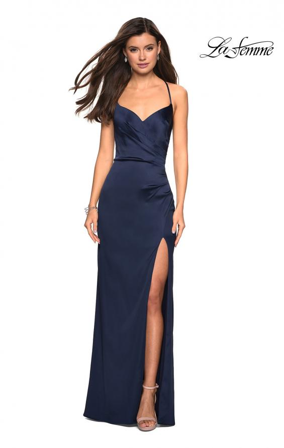 Picture of: Form Fitting Satin Prom Dress with Ruching in Navy, Style: 27782, Detail Picture 4