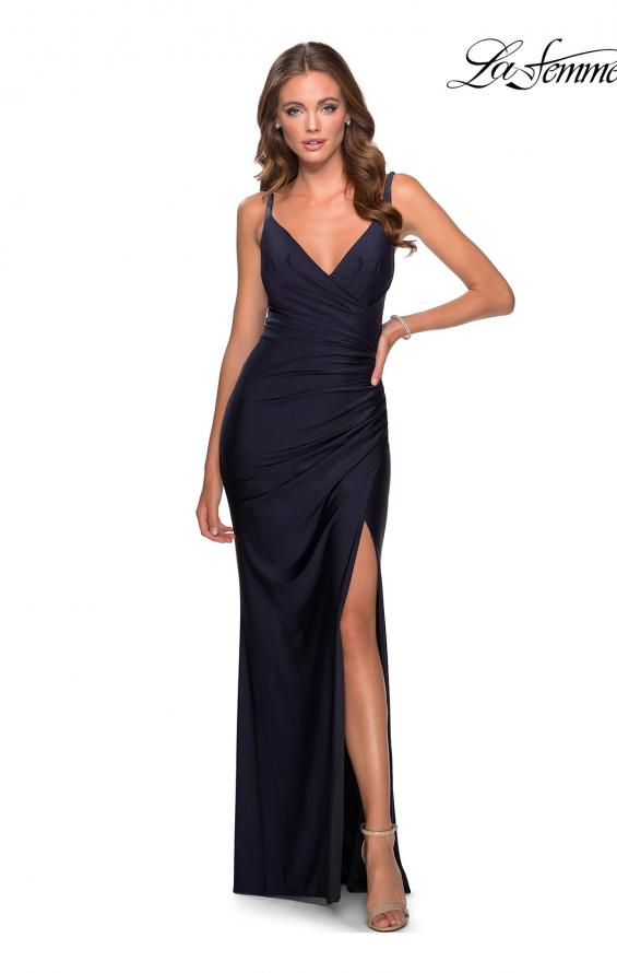 Picture of: Ruched Jersey Prom Dress with Tie Up Back in Navy, Style: 28421, Detail Picture 4