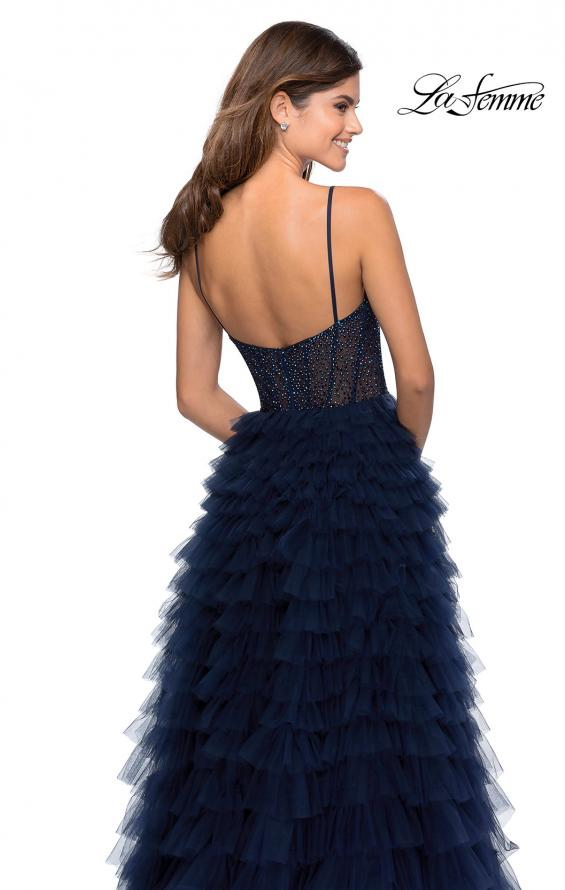 Picture of: Layered Tulle Prom Dress with Sheer Rhinestone Top in Navy, Style: 28788, Detail Picture 4