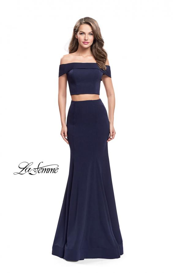 Picture of: Form Fitting Off the Shoulder Jersey Mermaid Dress, Style: 25578, Detail Picture 5
