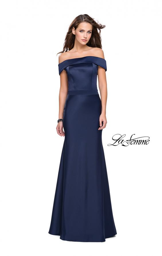 Picture of: Satin Off the Shoulder Dress with Trumpet Silhouette in Navy, Style: 25579, Detail Picture 5