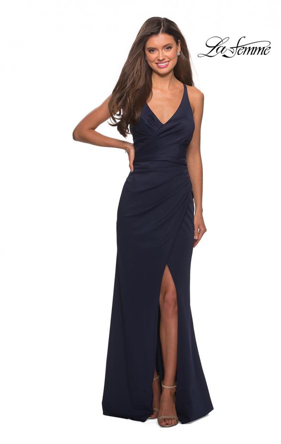 Picture of: Long Jersey Ruched Dress with Side Leg Slit, Style: 27317, Detail Picture 5