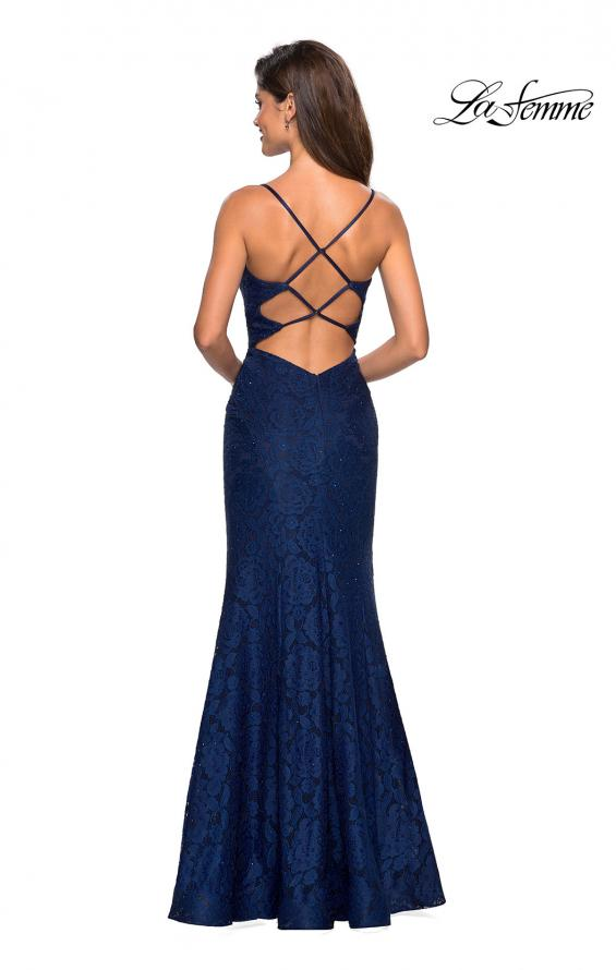 Picture of: Stretch Lace Gown with Square Neckline and Open Back in Navy, Style: 27565, Detail Picture 5