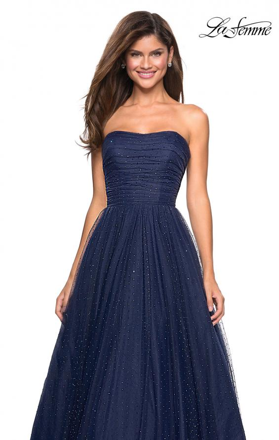 Picture of: Strapless Fully Rhinestone A-Line Prom Dress in Navy, Style: 27630, Detail Picture 5