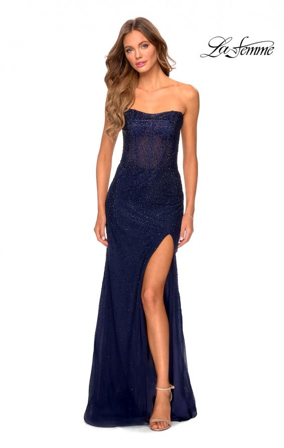 Picture of: Rhinestone Strapless Tulle Dress with Sheer Bodice in Navy, Style: 28621, Detail Picture 5